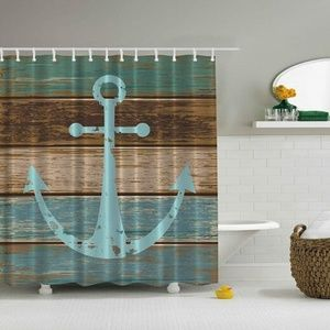 Shower Curtain Anchor Painted Wooden Plank Print